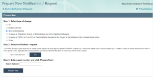 NSF No-Cost Extension (NCE) request Screen capture